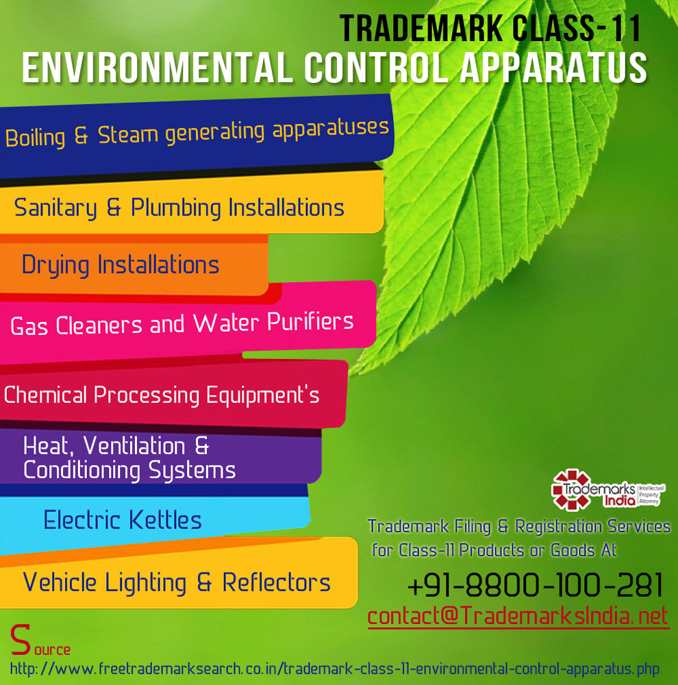 Trademark Class 11 - Environmental Control Apparatus