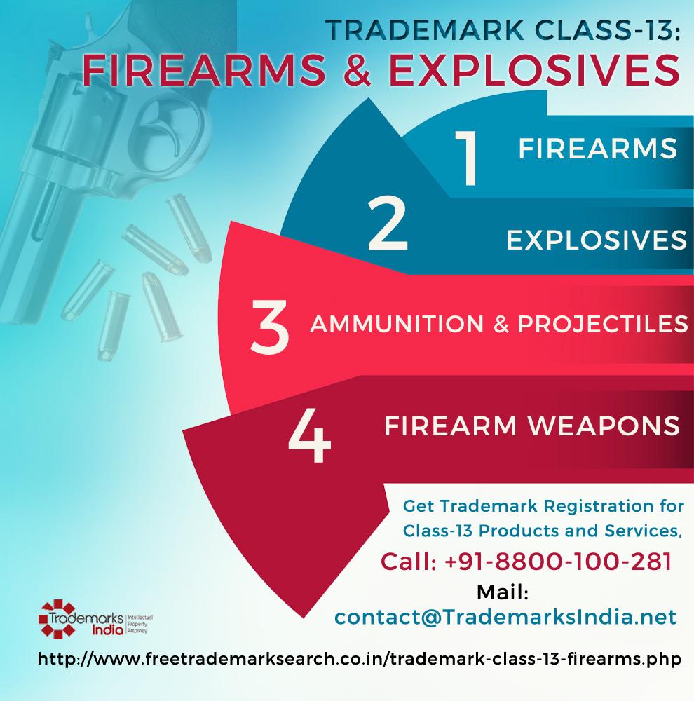 Trademark Class 13 - Firearms Explosives