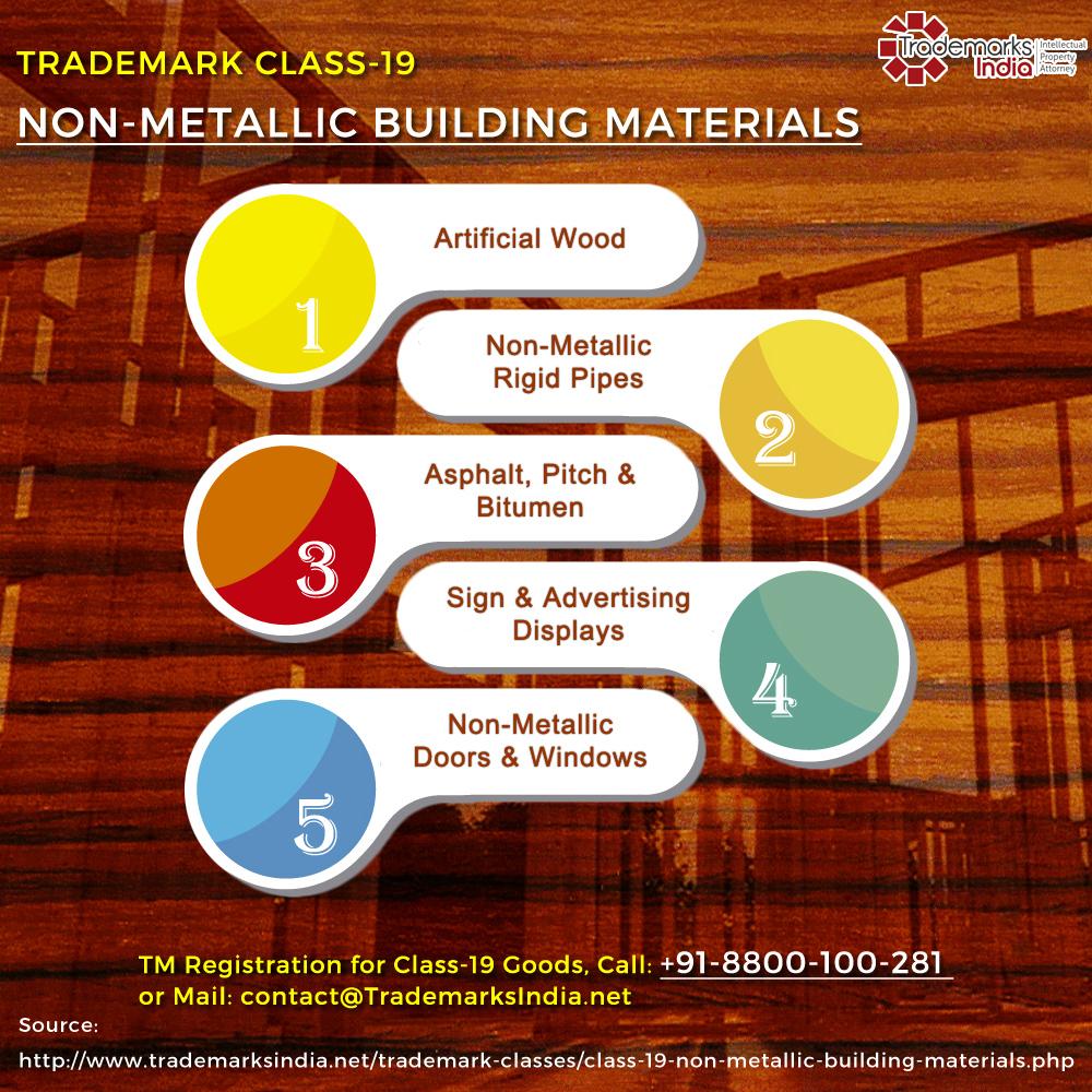 Trademark Class 19 - Non Metallic and Building Materials