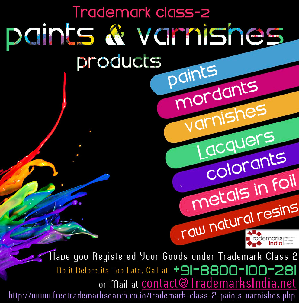 Trademark Class 2 For Paints and Varnishes Products