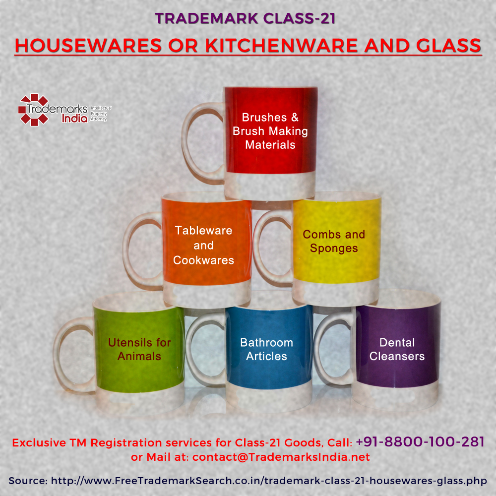 Trademark Class 21 - Housewares, Kitchenwares and Glass