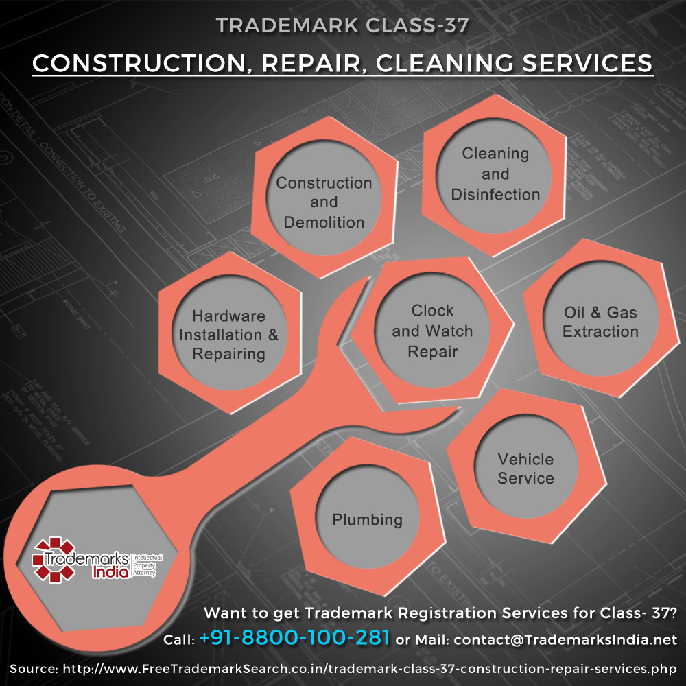 Trademark Class 37 - Construction, Repairing and Cleaning Services