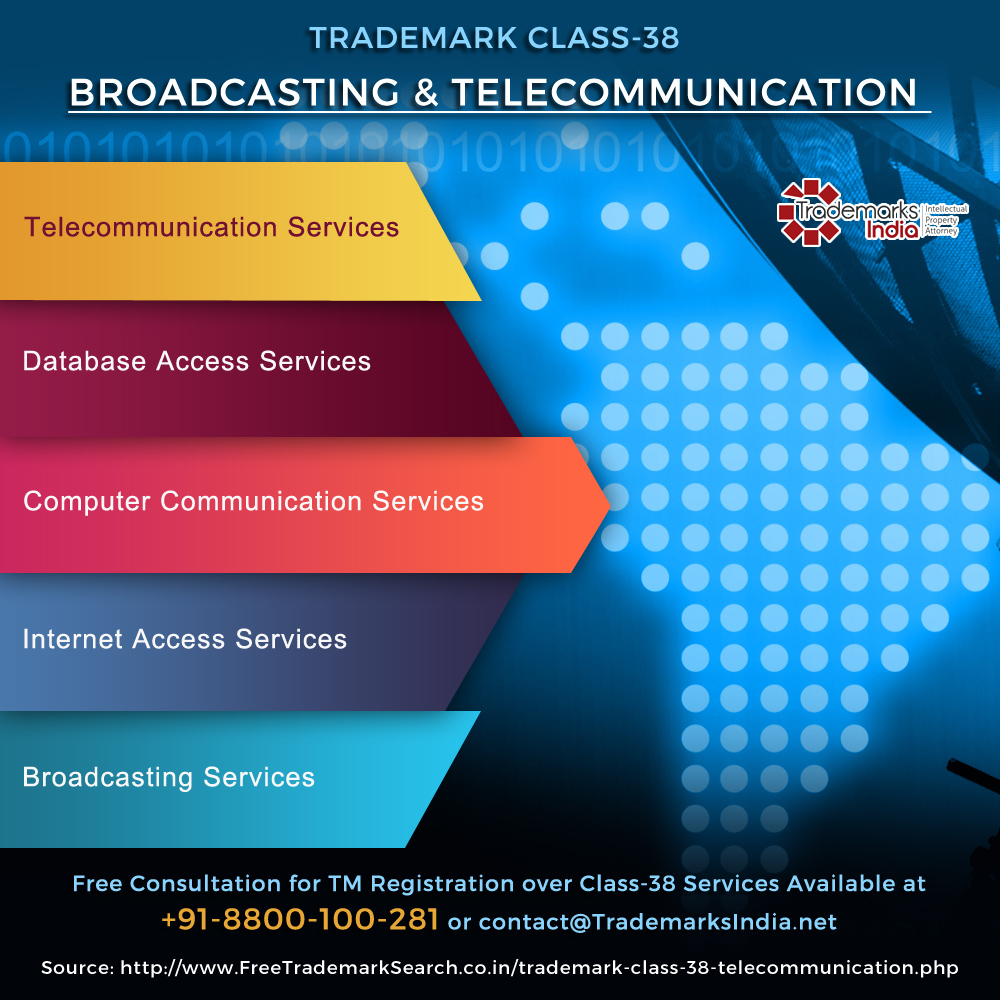 Trademark Class 38 - Broadcasting and Telecommunication