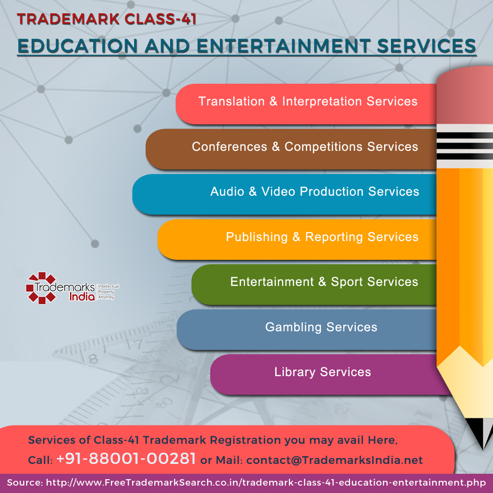 Trademark Class 41 - Education and Entertainment Services