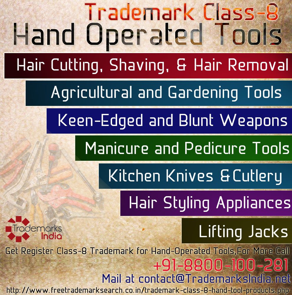 Trademark Class 8 - Hand Operated Tools